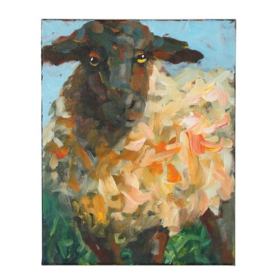 Elle Raines Acrylic Painting of a Sheep