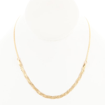 14K Yellow Gold Braided Chain Necklace