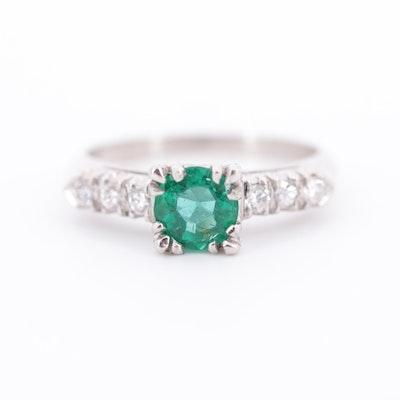 Platinum, Emerald and Diamond Ring