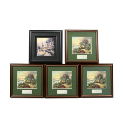 """Offset Lithographs after Thomas Kinkade """"New Day Dawning"""" and Winter Scene"""