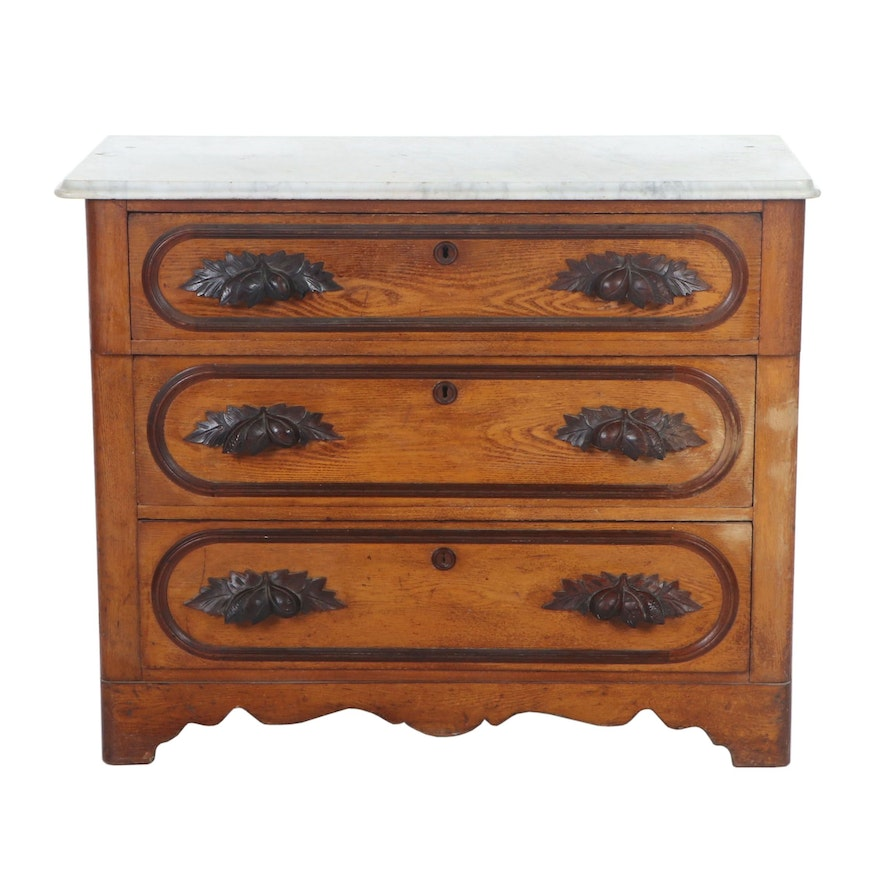 Victorian Ash, Walnut and Marble Top Chest of Drawers, Mid-19th Century