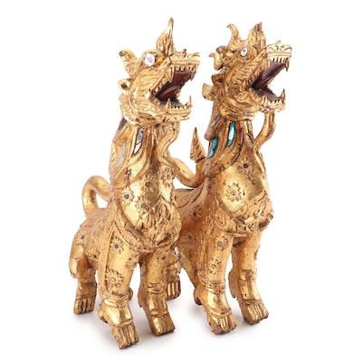 Thai Giltwood Singha Guardian Statuettes