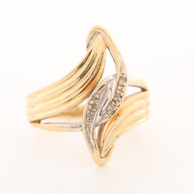 14K Yellow Gold Diamond Bypass Ring