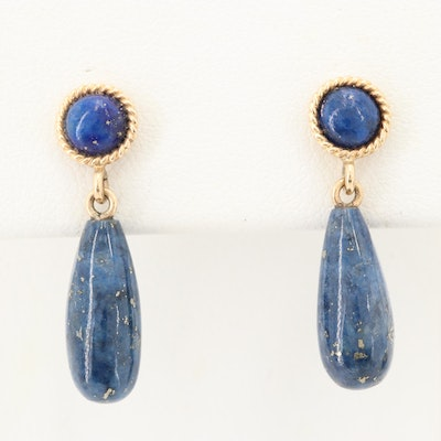 14K Yellow Gold Lapis Lazuli Dangle Earrings