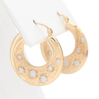 10K Yellow Gold Floral Motif Hoop Earrings with White Gold Accents
