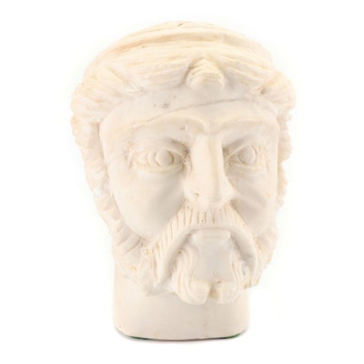Greco-Roman Inspired Hand-Carved Figural Head