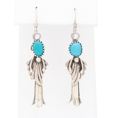 Signed Southwestern Style Turquoise Dangle Earrings