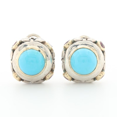 Sterling Silver Turquoise Earrings with 14K Yellow Gold Accents