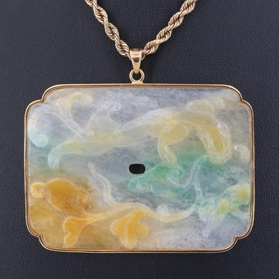 14K Yellow Gold Jadeite Pendant Necklace
