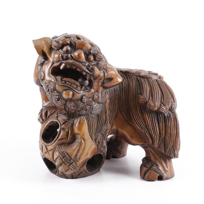 Chinese Carved Elm Guardian Lion Sculpture, Late 19th/Early 20th Century