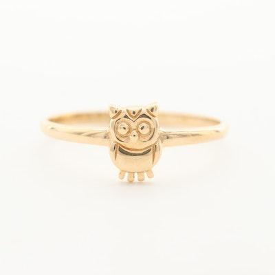 14K Yellow Gold Owl Ring