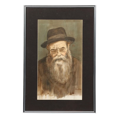 Floyd Berg Portrait of Rabbi Watercolor Painting