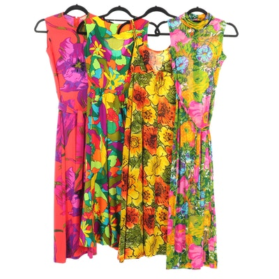 Floral Print Sleeveless Maxi Dresses Including Ken Scott, 1960s Vintage