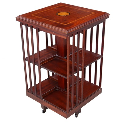 Inlaid Mahogany and Satinwood Rotating Bookcase, Early to Mid 20th Century