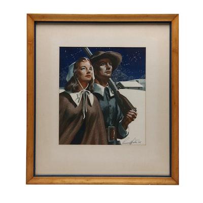 "Lumen Martin Winter Gouache Painting ""Pilgrims"""
