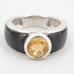 Sterling Silver Citrine and Black Onyx Ring