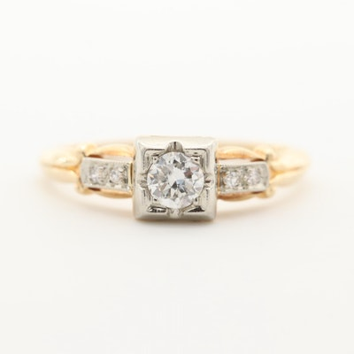 14K Yellow Gold Diamond Ring with 18K White Gold Top