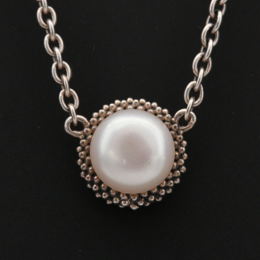 Lagos Sterling Silver Cultured Pearl Pendant Necklace