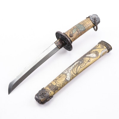 Japanese Tanto Style Steel Dagger with Chased Mixed Metal Sheath and Handle
