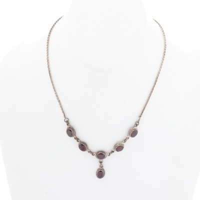 Sterling Silver and Garnet Necklace