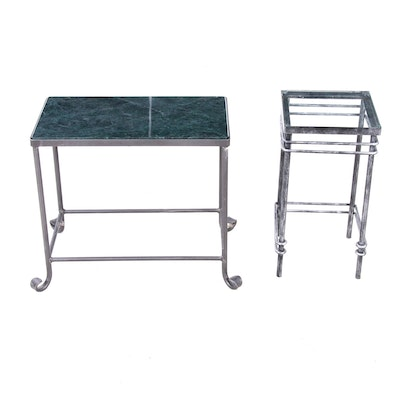Two Metal Framed Tables with Glass and Stone Tops, Late 20th Century