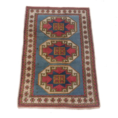 Hand-Knotted Caucasian Sculpted Wool Rug