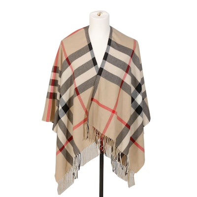 Burberry London Merino Wool Wrap with Fringe