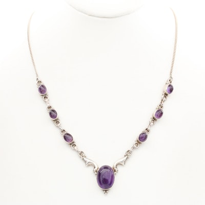 Sterling Silver Amethyst Collar Necklace