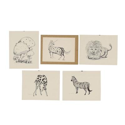 Robert Glenn Leonard Animal and Mushroom Lithographs, 1971