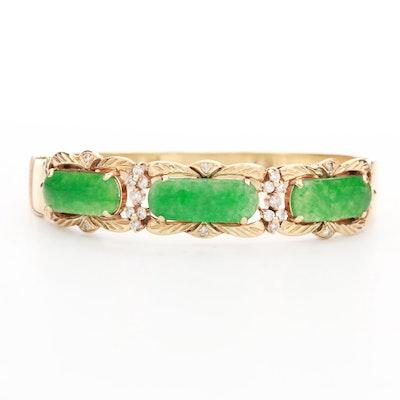 14K Yellow Gold Jadeite and Diamond Bracelet