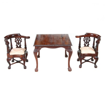 Diminutive Chippendale Style Georgian Furnishing Co. Corner Chairs and Table