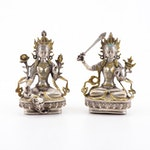 Tibetan Silver Tone and Brass Manjushri and Green Tara Figurines
