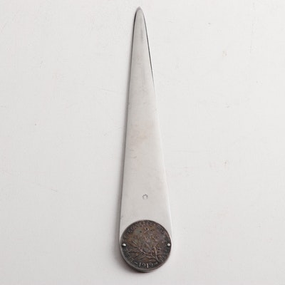 Eloi Pernet Letter Opener with 1919 France 2 Francs Silver Coin