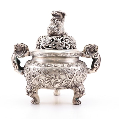 Chinese Silver Tone Three Footed Guardian Lion Censer, Vintage