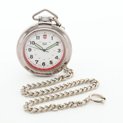 Swiss Army Stainless Steel Quartz Open Face Pocket Watch With Fob Chain