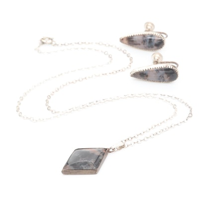Sterling Silver Agate Pendant Necklace and Earrings