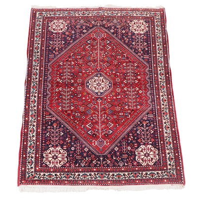 Hand-Knotted Persian Qashqai Abadeh Wool Rug