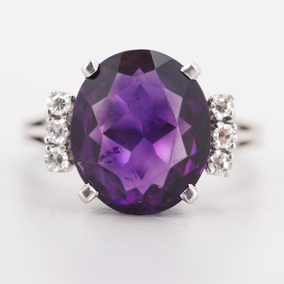 18K White Gold 6.00 CT Amethyst and Diamond Ring