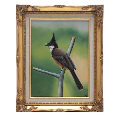 P. Kelly Oil Painting of Perched Bird