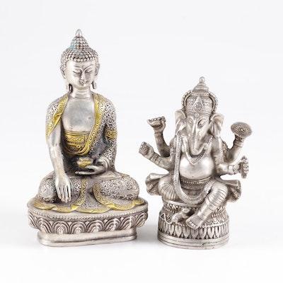 Tibetan Silver Tone and Brass Ganesha and Buddha Figurines