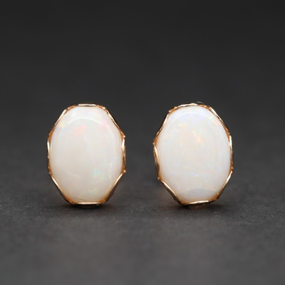 14K Yellow Gold Opal Stud Earrings