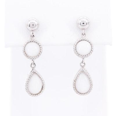 Sterling Silver White Jadeite Dangle Earrings