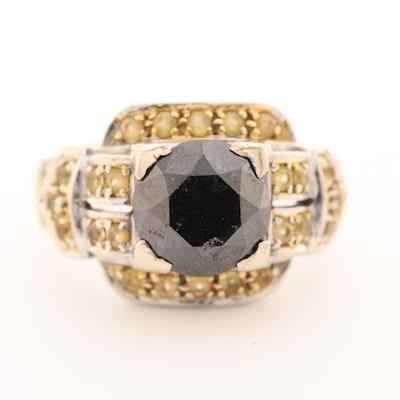 14K White Gold 3.75 CT Black Diamond and Yellow Sapphire Ring