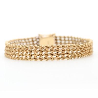 14K Yellow Gold Quadruple Row Rope Bracelet