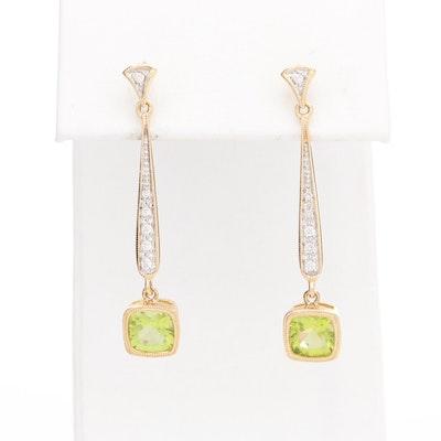14K Yellow Gold Peridot and Diamond Earrings