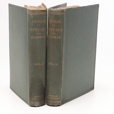 "1888 Sixth Edition ""The Origin of Species"" Two Volume Set by Charles Darwin"