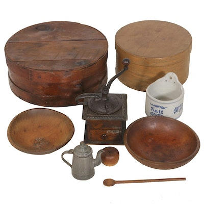 Kitchen and Pantry Collection Including Coffee Grinder and Salt Crock