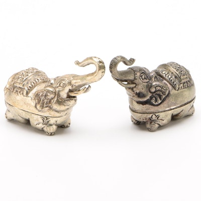 Khmer Silver Plate Elephant Form Betel Boxes