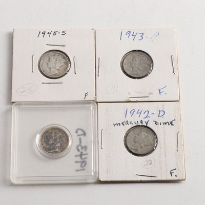 Four Mercury Silver Dimes
