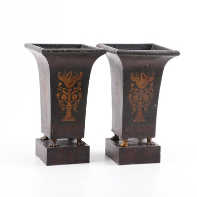 Neoclassical Style Painted Metal Planters, A Pair